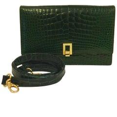 Luscious Lederer Deep Forest Green Alligator Clutch or Crossbody Bag