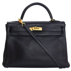 Hermes Black Togo Leather 32cm Retourne Kelly Bag w/ Box