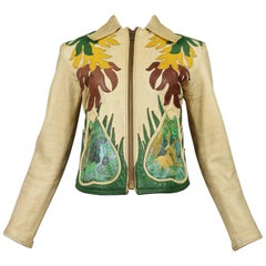 Iconic East West Leather Leaf Applique Jacket w Hand Painted Lion & Jungle Scene
