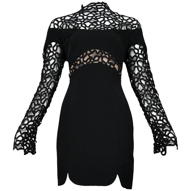 Thierry Mugler Black Lace & Insets Long Sleeve Mini Cocktail Dress