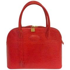 Francesco Rogani Croc Embossed Red Leather Handbag