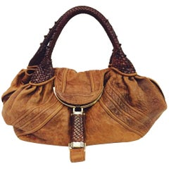 Luscious Fendi Tan Distressed Leather Spy Hobo Handbag