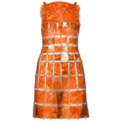 Iconic Paco Rabanne Futuristic Tortoise Vinyl & Metal Disc Dress