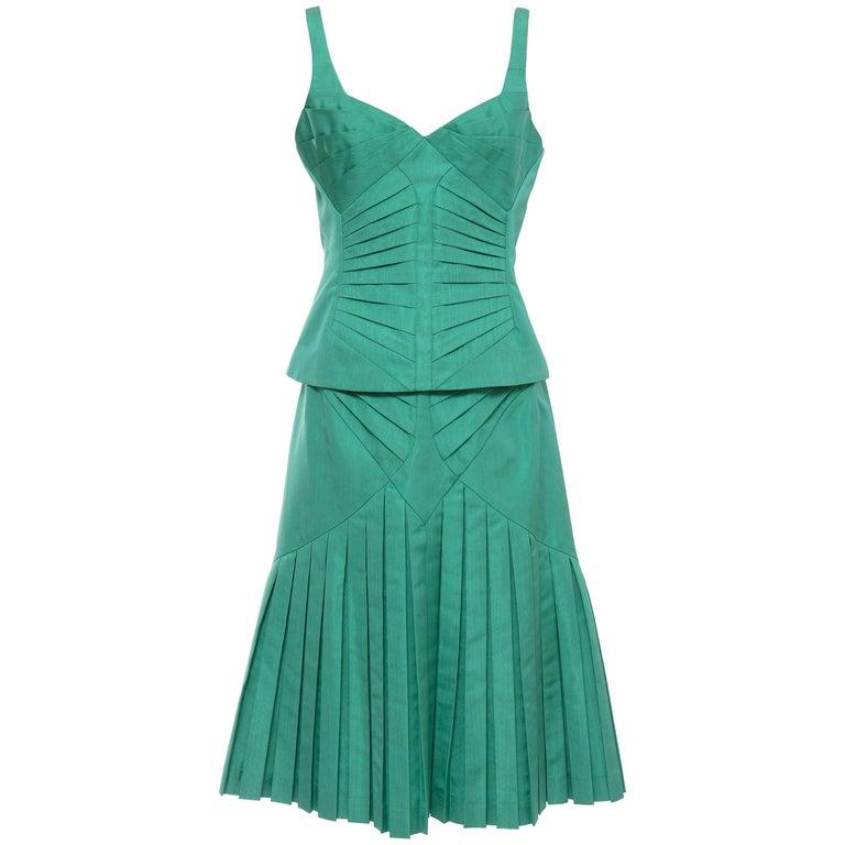 Zac Posen Green Silk Moiré Pleated Skirt Suit, Fall 2005
