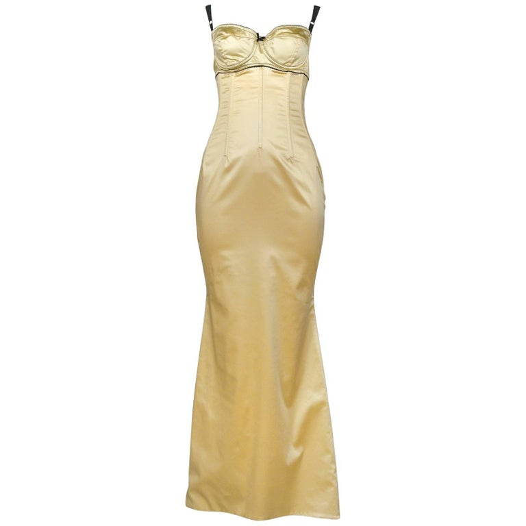 Dolce & Gabbana Pale Yellow Satin Bustier Gown