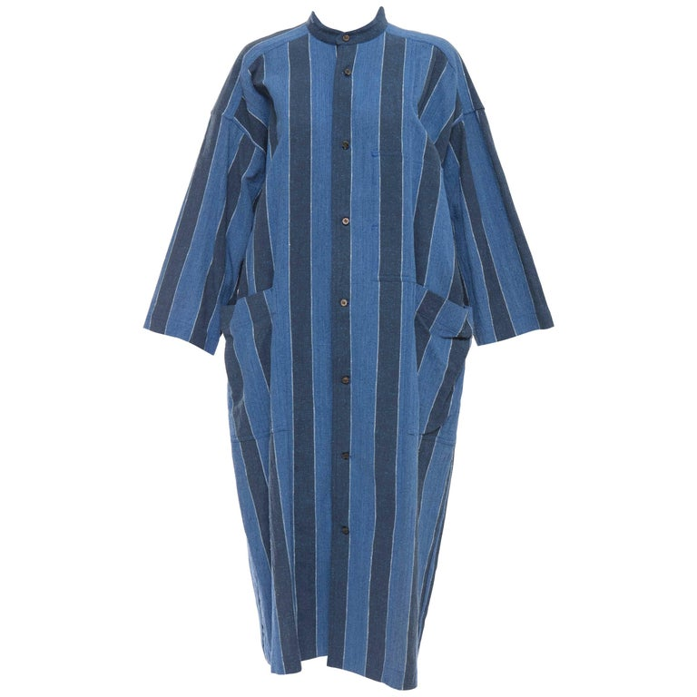 Issey Miyake Plantation Blue Striped Cotton Button Front Dress, Circa 1980's
