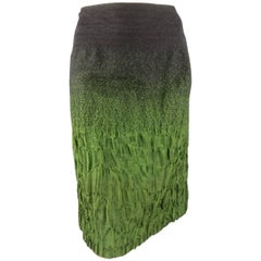 PRADA Size 10 Charcoal & Green Ombre Gradient Textured Fall 2007 Skirt