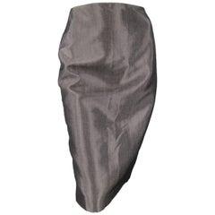 RALPH LAUREN COLLECTION Size 4 Metallic Grey Wool Blend Denim Pencil Skirt