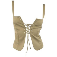MIU MIU Size 2 Khaki Lace Up Open Bustier Camisole Top