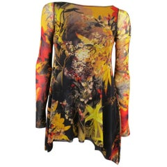 JEAN PAUL GAULTIER XS Yellow & Red Still Life Painting Print Mesh A Line Top
