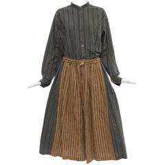 Issey Miyake Plantation Striped Woven Cotton Skirt Suit, Circa 1980's