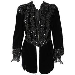 1910's Edwardian Antique Couture Black Beaded Sequin Velvet Poet-Sleeve Jacket