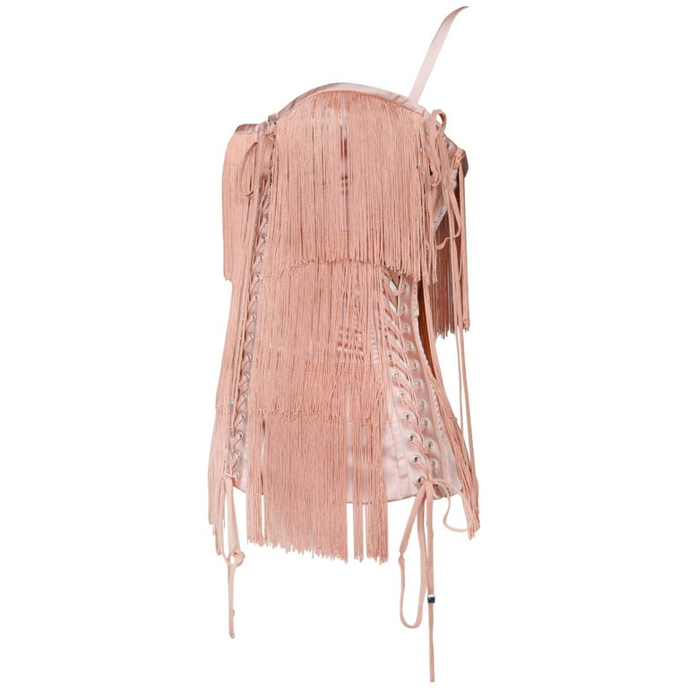 Dolce & Gabbana Pink Fringe & Lace Up Corset Bustier Top 2003