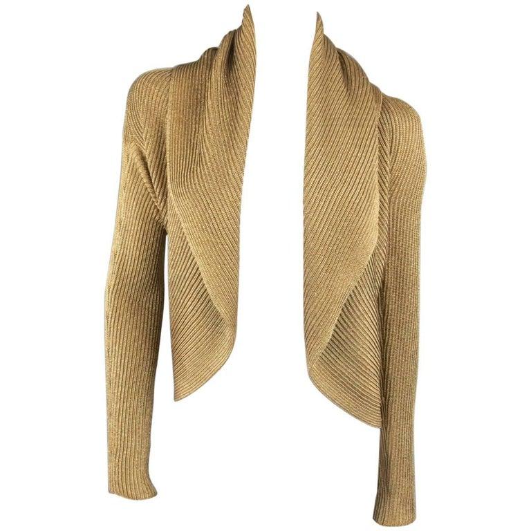 Ralph Lauren Size L Metallic Gold Silk Blend Draped Bolero