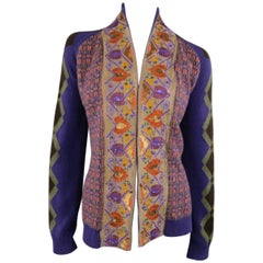 ETRO Size 10 Purple Orange & Green Wool Blend Sequin Trim Cardigan
