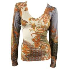 ETRO Size 10 Beige Olive & Orange Paisley Silk / Cashmere V Neck Pullover