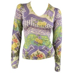 ETRO Size 6 Purple & Green Brocade Floral V Neck Pullover