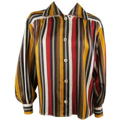Vintage SAINT LAURENT Rive Gauche Size 8 Gold & Red Striped Silk Blouse