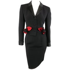 Vintage MOSCHINO Cheap & Chic 8 Black & Red Roses Skirt Suit