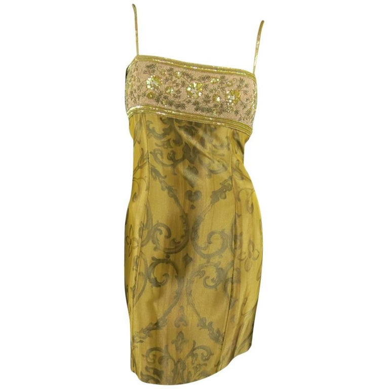 ESCADA COUTURE Size 10 Metallic Gold Brocade Sequin Bust Cocktail Dress 1