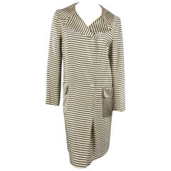 DRIES VAN NOTEN Size L Cream & Black Striped Satin Placket Coat