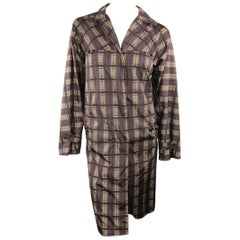 PRADA Size S Taupe Multi-Color Plaid Nylon Trench Coat