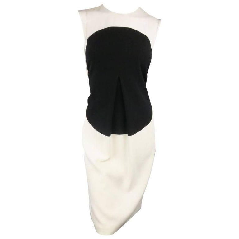 Calvin Klein Collection Cream and Black Circle Pleat Sleeveless Shift Dress