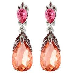 Oscar de la Renta Peach Crystal Earrings