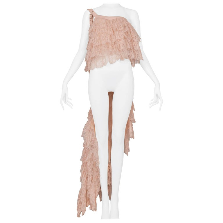 Alexander McQueen Pink Lace Asymmetrical Ruffle Ball Gown Top w Leather 2007