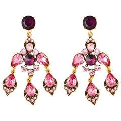 Oscar de a Renta Pink Chandelier Earrings