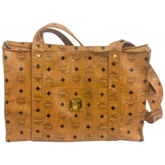 Vintage MCM brown monogram large tote, shoulder bag. By Michael Cromer. Germany