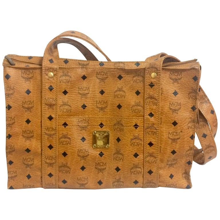 Vintage MCM brown monogram large tote, shoulder bag. By Michael Cromer. Germany