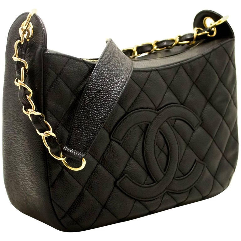 50b314280223 CHANEL Caviar Chain One Shoulder Bag Black Quilted Leather Zipper For Sale