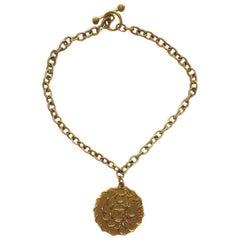 BALENCIAGA Pendant Necklace in Gilded Metal