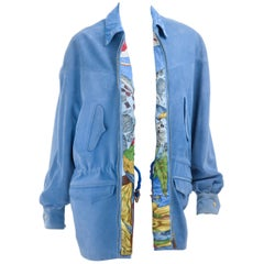 Vintage 90s Suede & Silk Leather Jacket in Blue with Christophe Colomb Print