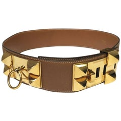 HERMES 'Collier de Chien' Gold Leather and Gold-Pleated Hardware Belt