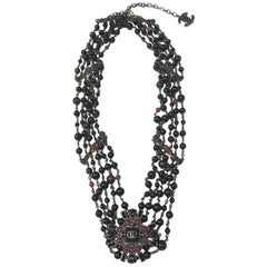 CHANEL 5 Rows Belt in Ruthenium Metal and Black and Mauve Pearls