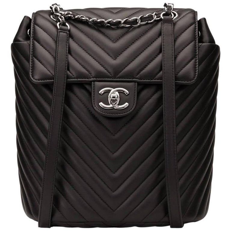 2016 Chanel Black Chevron Quilted Calfskin Small Urban Spirit Backpack For  Sale 34380a8c03