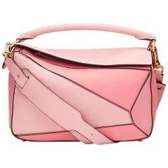 2016 Loewe Soft Pink & Candy Dark Pink Calfskin Puzzle Bag