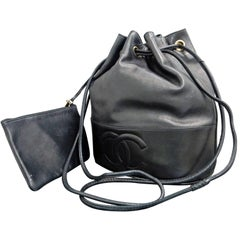 "Chanel Black Lambskin Leather ""CC"" Drawstring Bucket Shoulder Bag with Pouch"