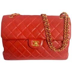 Vintage CHANEL lipstick red lambskin 2.55 classic jumbo, large shoulder bag.