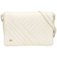 Valentino White Leather Quilted Flap Shoulder Bag