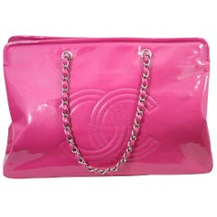 Lovely Chanel Flashy Patented Leather Pink Bag. Big size