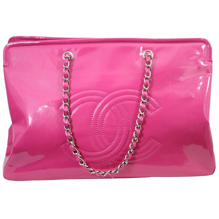Lovely Chanel Flashy Patented Leather Pink Bag Size For
