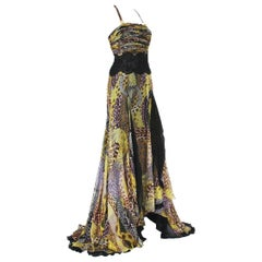 Versace 90's Silk Snake Print Sheer Lace Medusa Embellished Dress Gown