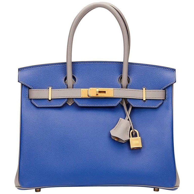 3ccb5c5333c9 2016 Hermes Blue Electric   Gris Mouette Epsom Leather Special Order Birkin  30cm For Sale