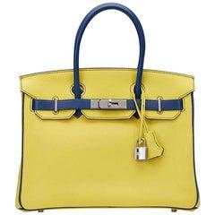 2015 Hermes Soufre & Bleu Sapphir Chevre Mysore Leather Special Order Birkin 30