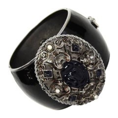 Chanel Pre-Fall '13 Runway Black Enamel CC Cuff