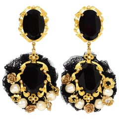 Dolce & Gabbana Black Lace & Crystal Embellished Clip On Earrings