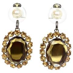 Miu Miu Bronze Crystal XL Clip On Earrings
